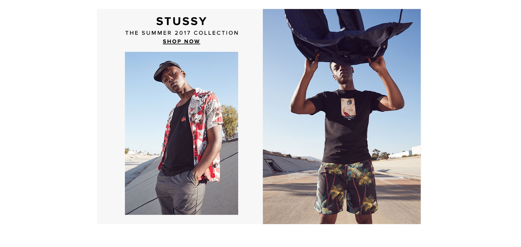 Stussy. Classic cuts and bold visuals highlight the summer 2017 collection. Shop now.