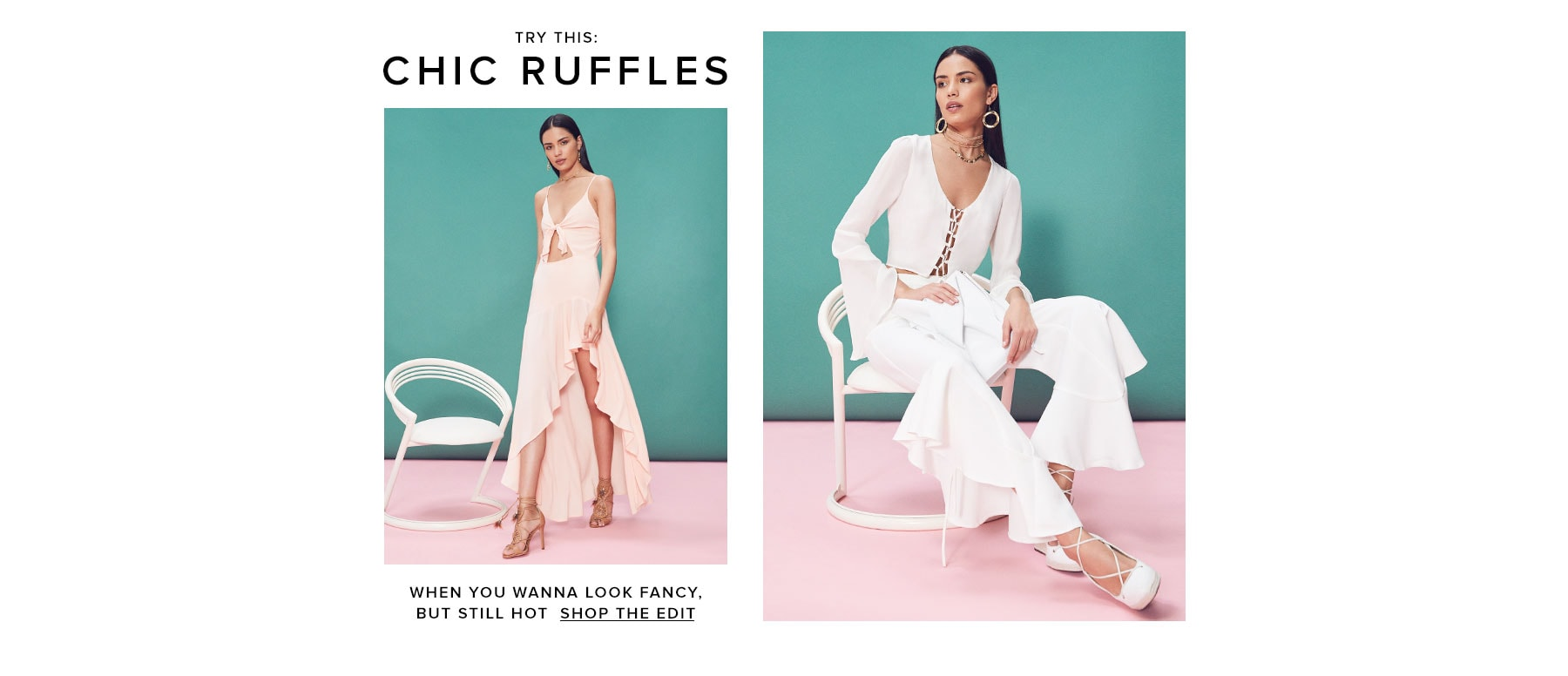 Try this: Chic ruffles. Shop the edit.