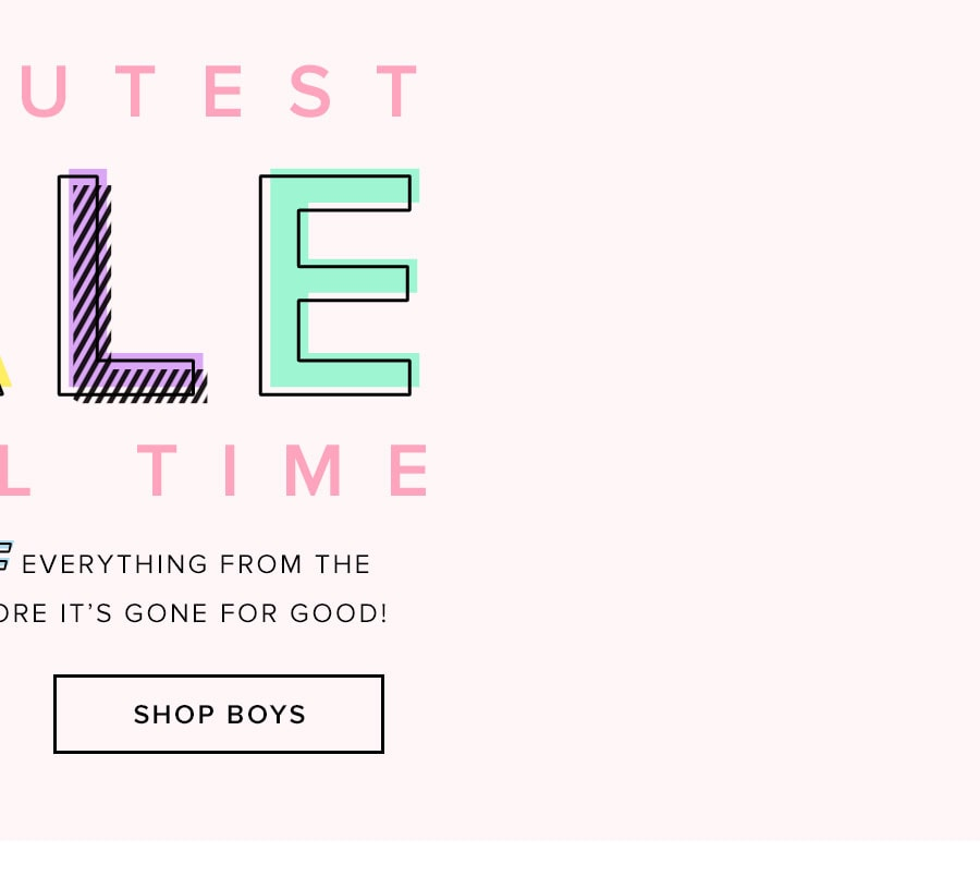 The cutest sale of all time. Up to 50% off everything from the REVOLVEMINI shop before it's gone for good! Shop boys.