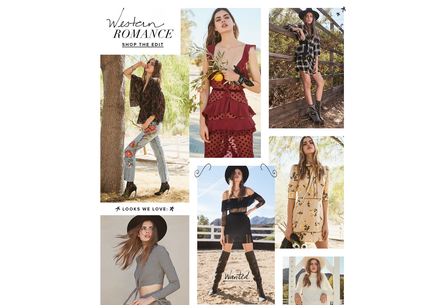 Looks We Love: Western Romance. A chic showdown of the season's most-wanted trends, from fiery dresses to riding boots. Shop the Edit.
