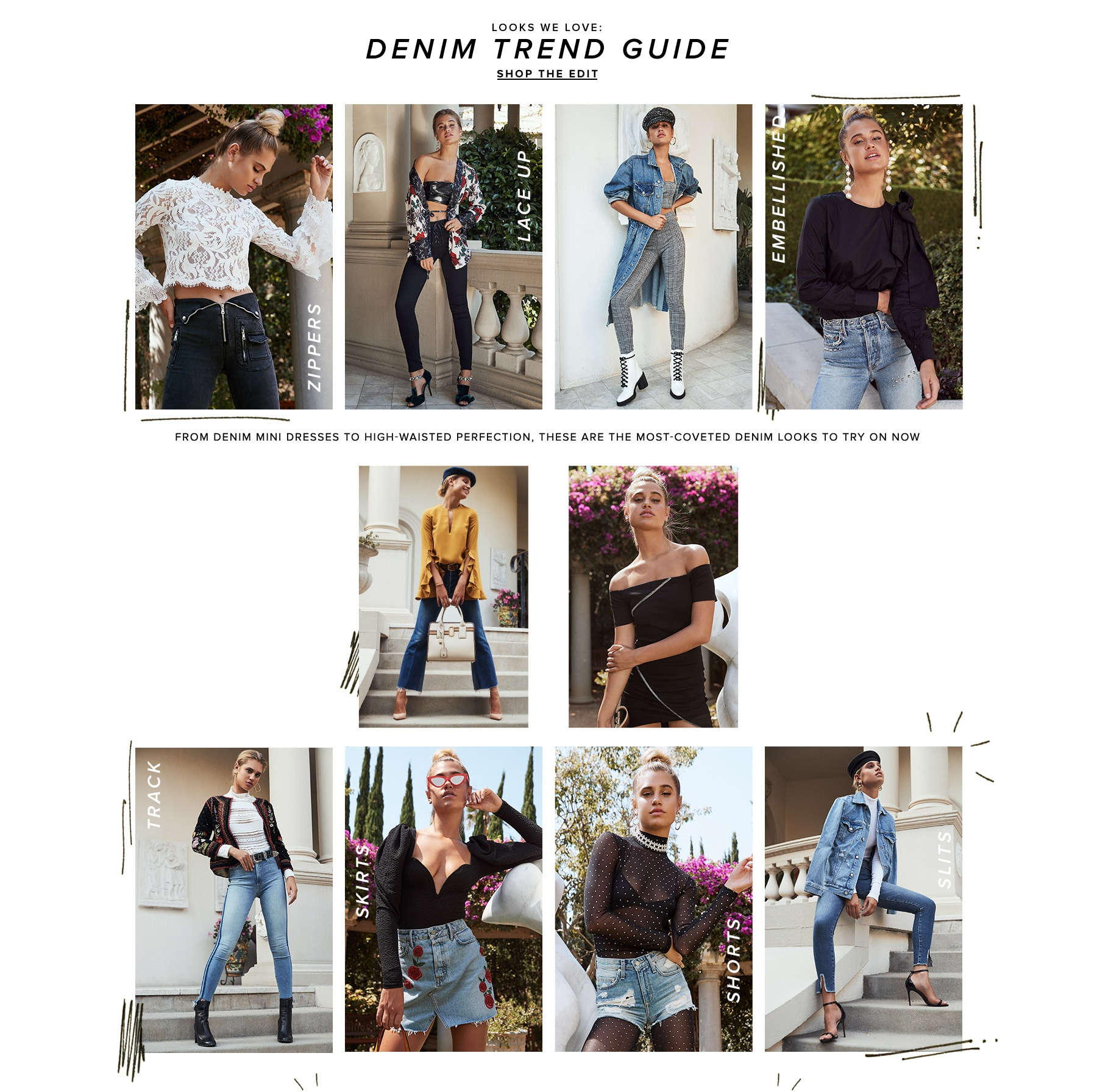 Looks We Love: Denim Trend Guide. From denim mini dresses to high-waisted perfection, these are the most-coveted denim looks to try on now. Shop the Edit