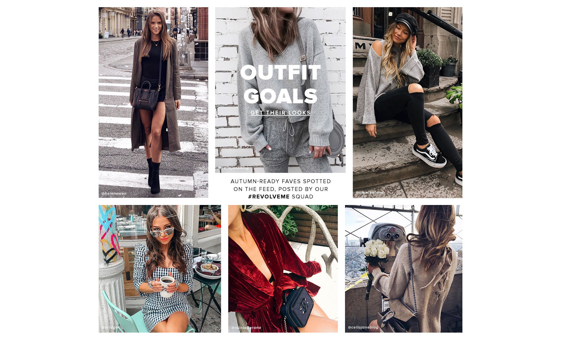 Outfit Goals. Autumn-ready faves spotted on the feed, posted by our REVOLVEme squad. Get their Looks.