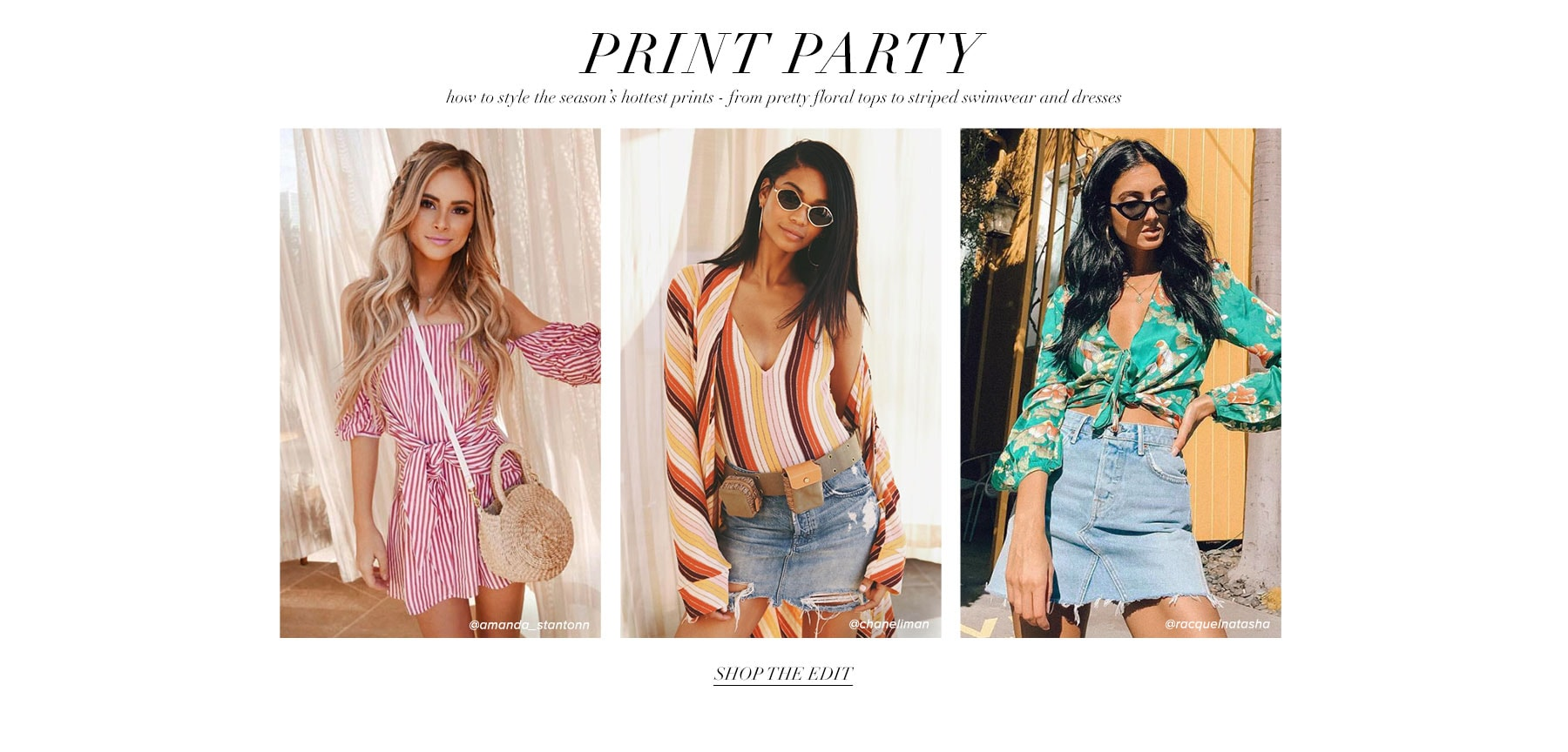 Print party. How to style the season's hottest prints - from polka dotted dresses to striped bikinis and blouses. Shop the edit.