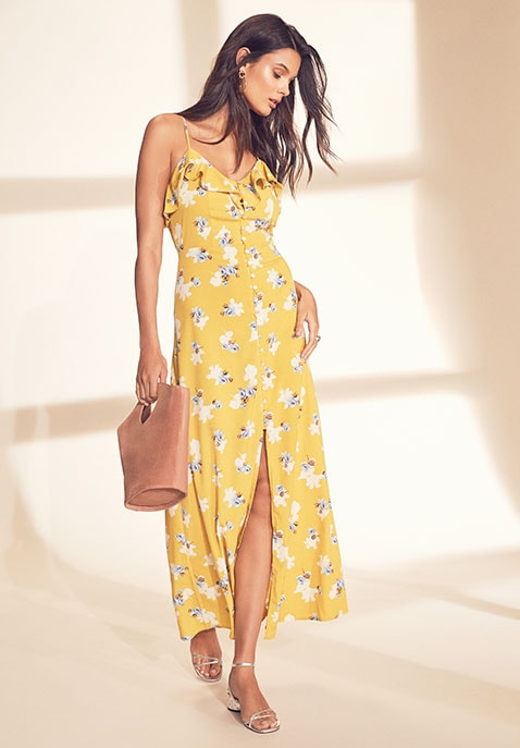 Flower Print Button Down Maxi