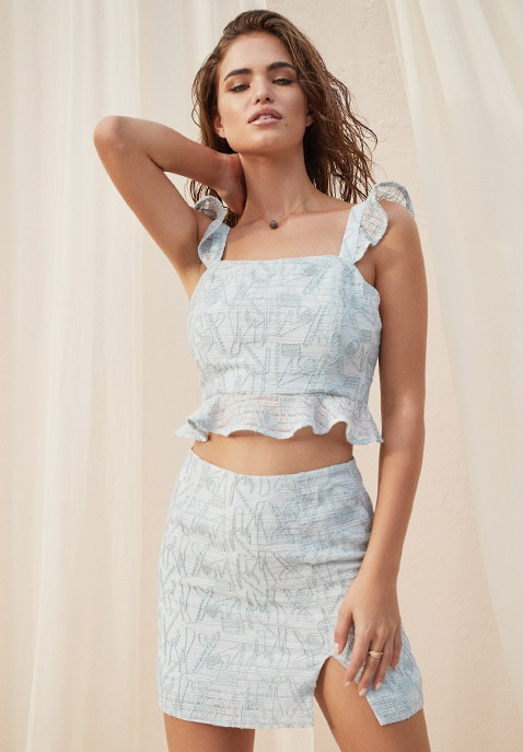 Ruffled Hem Crop Top