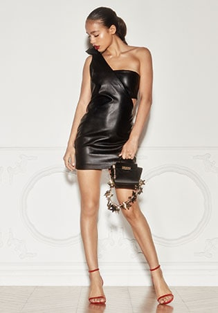X REVOLVE One Shoulder Faux Leather Dress