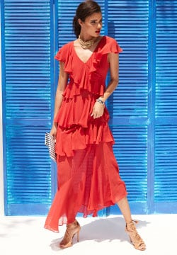 Silk Ruffle Dress