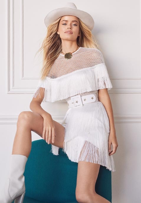 Crepe Fringe Mini Dress