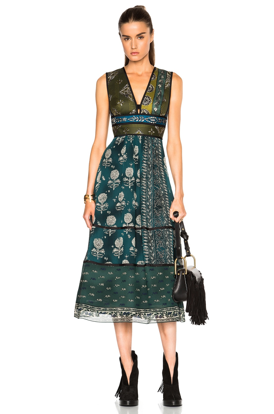 Burberry Prorsum Geometric Floral Print Silk Crepon Dress in Blue,Floral,Green