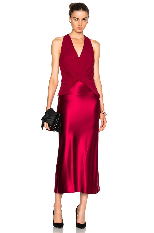 Dion Lee Silk Satin Twist Dress in Red