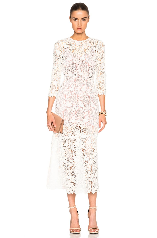 fleur du mal Guipure Lace Dress in Neutrals