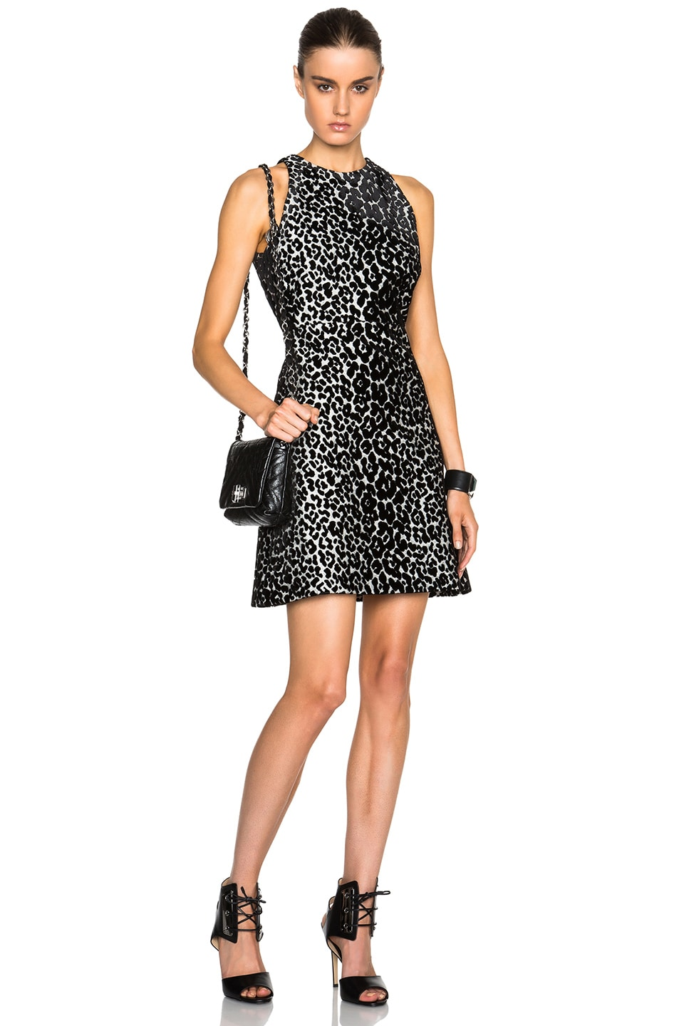 Giambattista Valli Jacquard Leopard Dress in Black,Animal Print