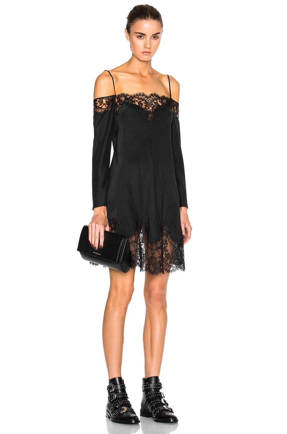 Givenchy FWRD Exclusive Off the Shoulder Silk Satin Dress in Black