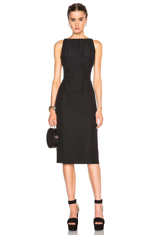 Nina Ricci Satin Backed Crepe Dress in Black
