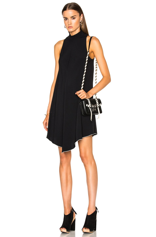 Proenza Schouler Satin Back Crepe Turtleneck Swing Dress in Black