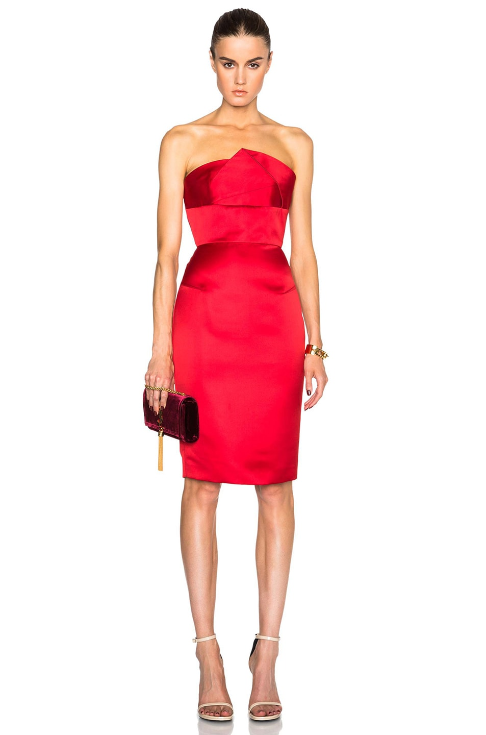Roland Mouret Esther Satin Faille Dress in Red