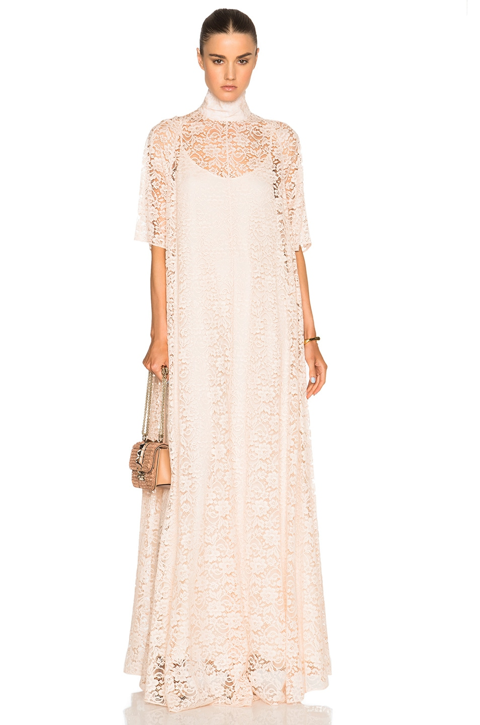 Ryan Roche French Lace Dress in Neutrals,Pink