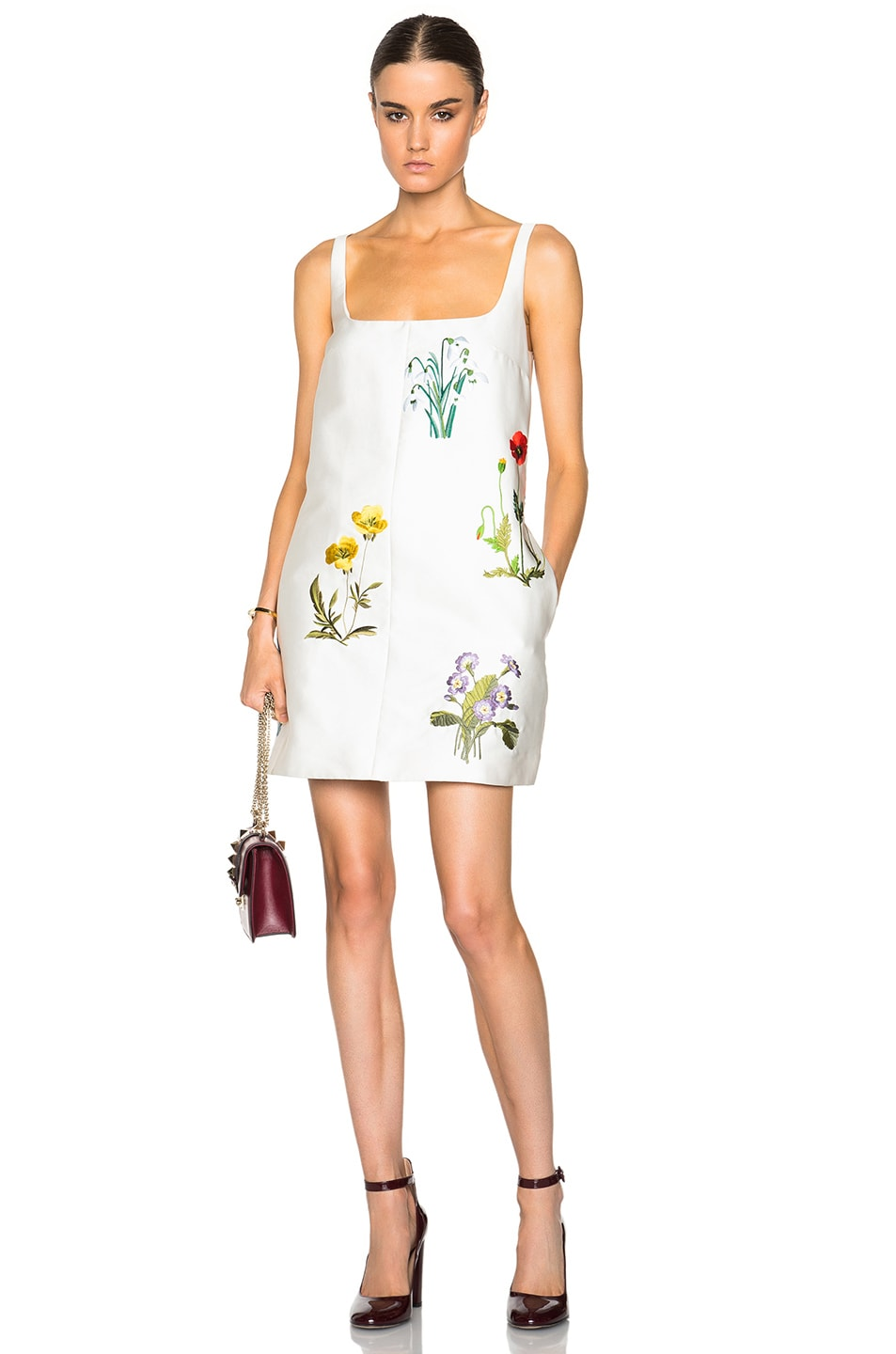 Stella McCartney Marianne Botanical Embroidery Dress in White,Floral