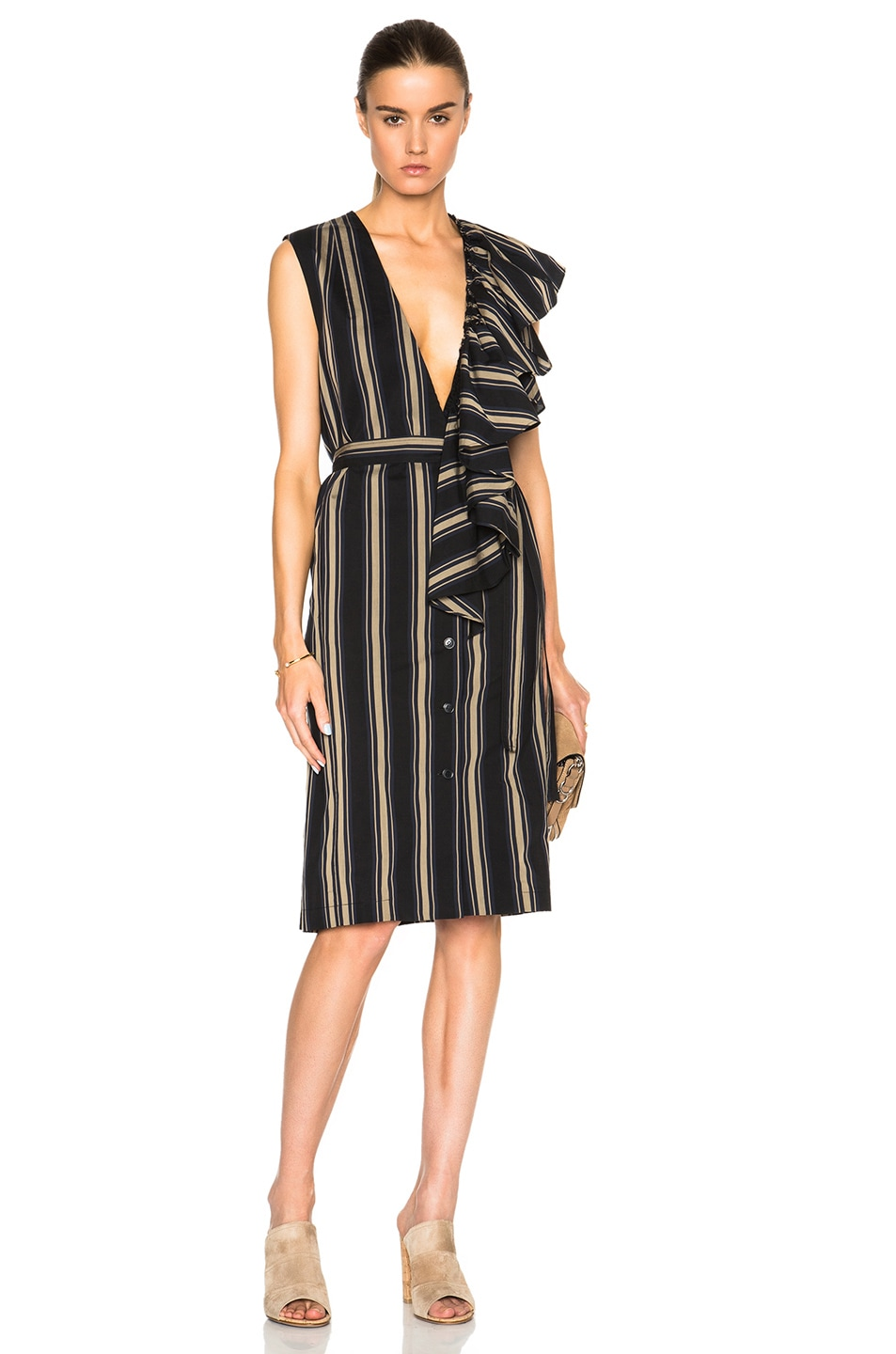Tome Silk Cotton Deep V Neck Dress in Stripes,Black