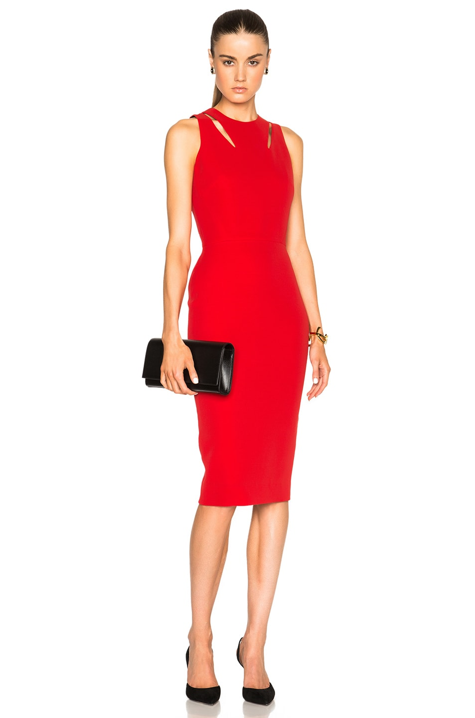 Victoria Beckham Double Crepe Sleeveless Cut Out Dress in Red