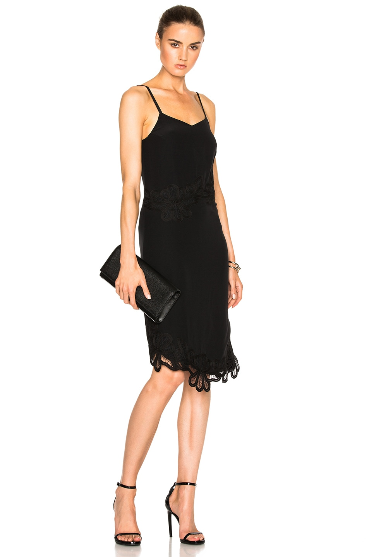 Victoria Beckham Crepe De Chine & Lace Cami Dress in Black ...