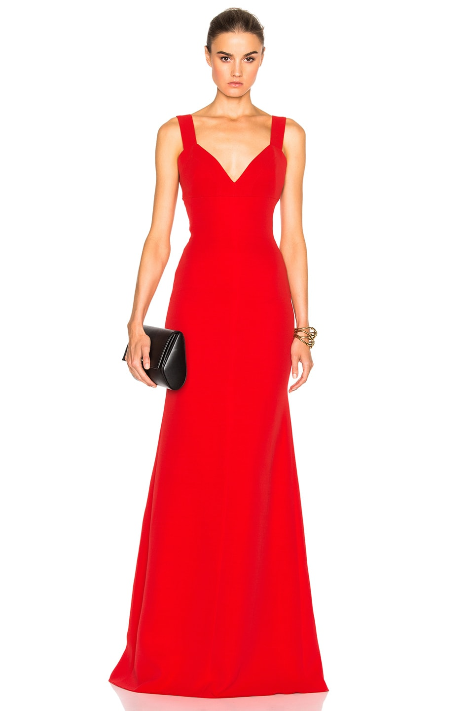 Victoria Beckham Double Crepe Camisole Floor Length Dress in Red
