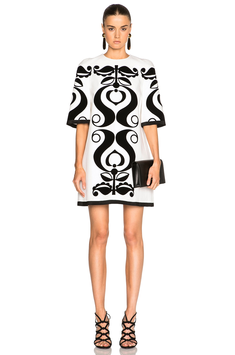 Victoria Victoria Beckham Printed Canvas Dress in White,Abstract