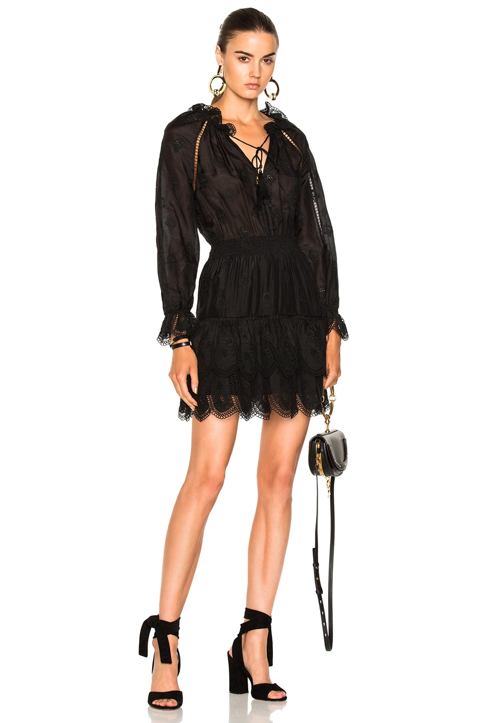 Zimmermann Tulsi Embroidered Mini Dress in Black
