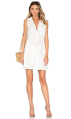 Sleeveless Tie Waist Shirtdress in Soft White