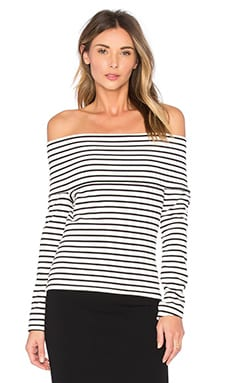 Off The Shoulder Top in Soft White Stripe