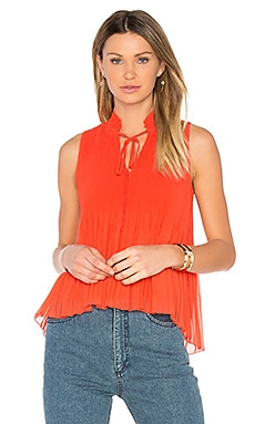 Pleated Top in Bright Coral