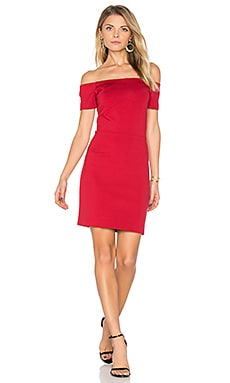 Off Shoulder Bodycon Dress in Wild Crimson