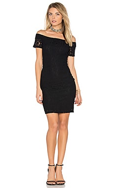 Off Shoulder Lace Dress in Rich Black