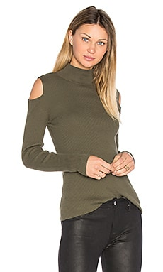 Mock Neck Cold Shoulder Sweater in Olive Tree