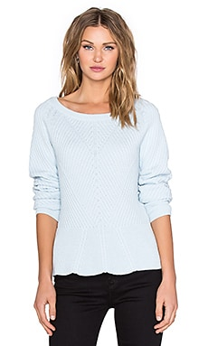 Crewneck Diagonal Stitch Peplum Sweater in Whisper Blue