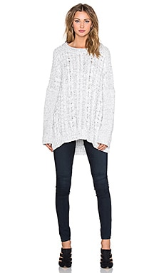 Long sleeve Cable Poncho Sweater in Vanilla