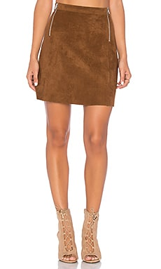 A Line Zipper Skirt in Toffee Brown