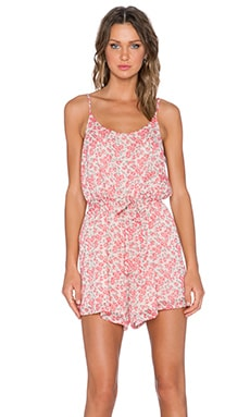 Breezy Petals Romper in Red Azalea