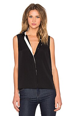 Sleeveless Pleat Back Blouse in Rich Black