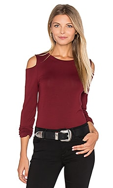 Long Sleeve Cold Shoulder Top in Wine