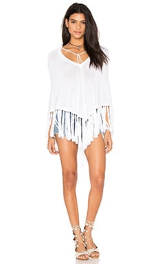 Kenya Fringe Poncho in Ultra White