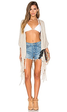 Justeen Open Fringe Poncho in Oatmeal
