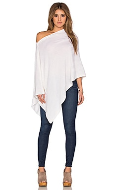 Chumash Rib Stripe Poncho in Cloud