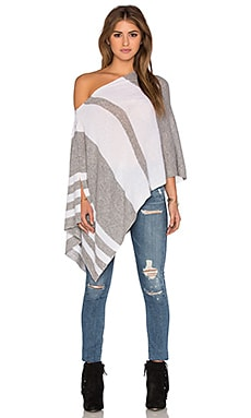 Chumash Stripe Poncho in Pebble & Cloud