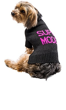 Skull Dog Super Model Sweater in Charcoal & Pink