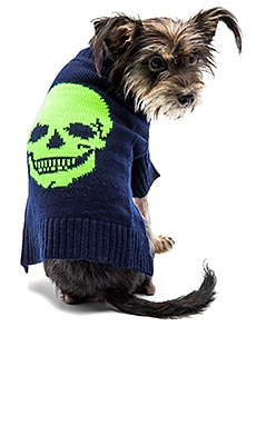 Skull Dog Sweater in Navy & Neon Yellow