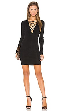 Lace Up Sweater Dress in Black