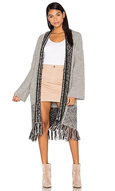 Riorose Cashmere Fringe Cardigan in Grey & Black