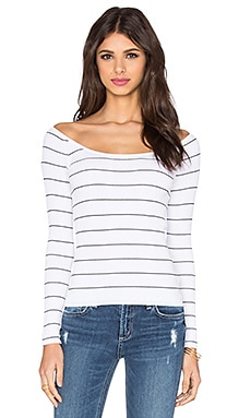 Phuket Off Shoulder Top in White & Black Stripe