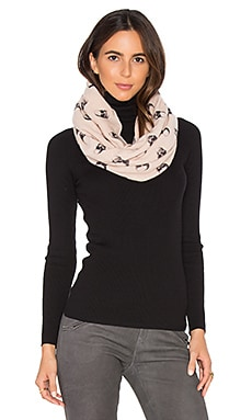 Jack Cashmere Infinity Scarf in Flower & Charcoal Skull
